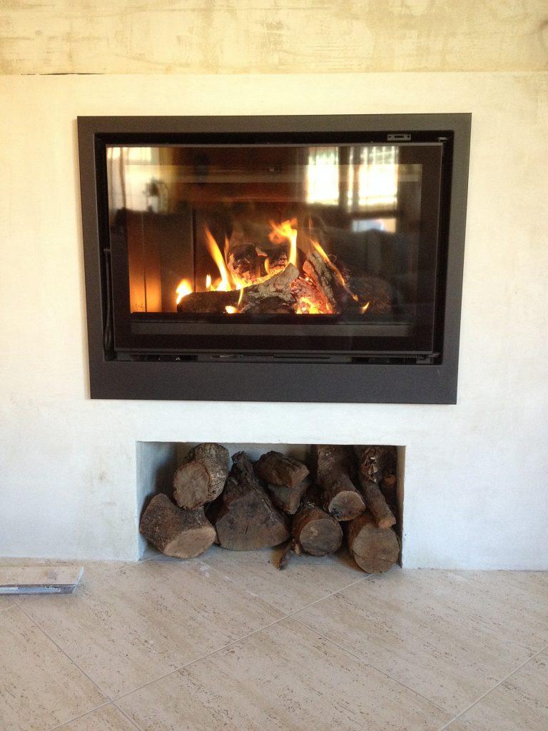 insert de cheminée hiver